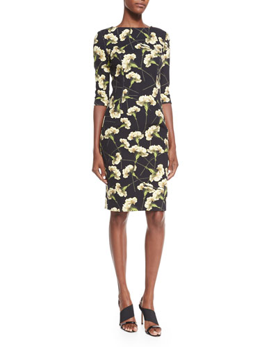 Carnation-Print Techno Dress, Black/Yellow