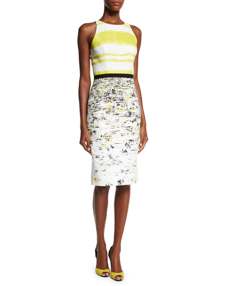 Carolina HerreraSleeveless Two-Tone Sheath Dress, Black/Yellow