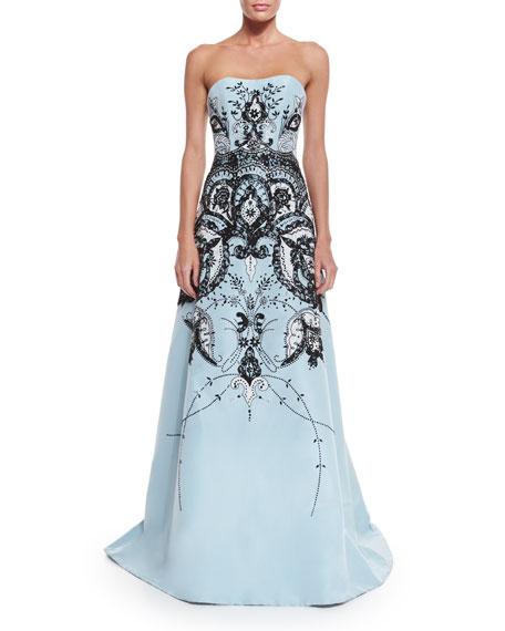 Carolina Herrera Strapless Embroidered Gown, Baby Blue