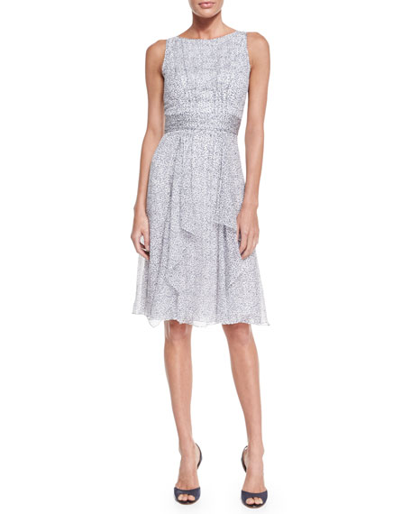Carolina Herrera Sleeveless Crinkle-Chiffon Dress, Dark