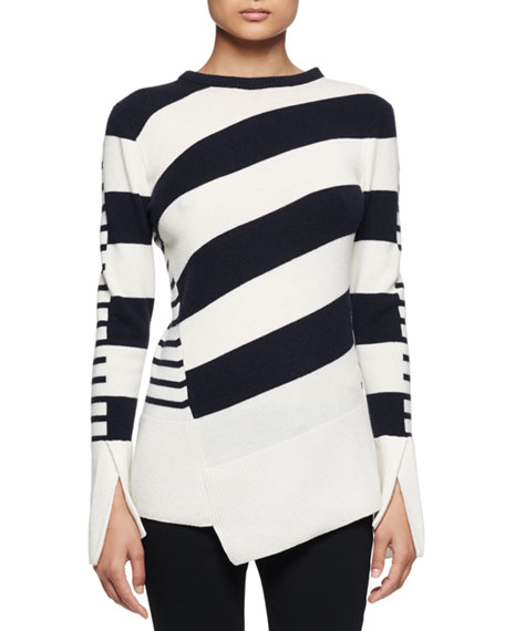 Multi-Stripe Asymmetric-Hem Sweater, Ivory/Navy