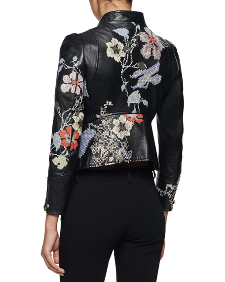 Alexander McQueen Embroidered Leather Moto Jacket Black Multi