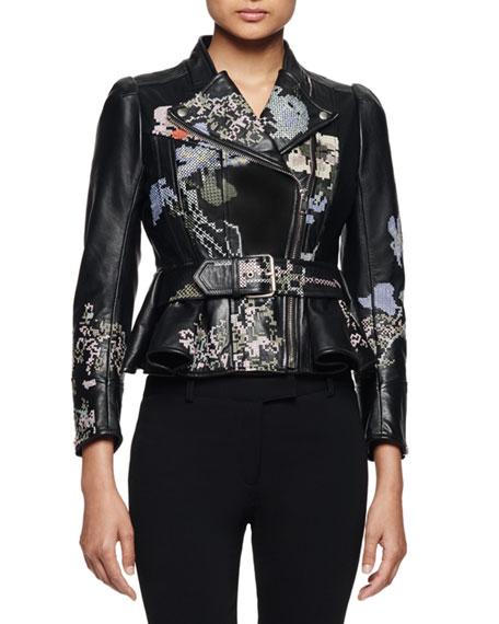 Embroidered Leather Moto Jacket, Black Multi