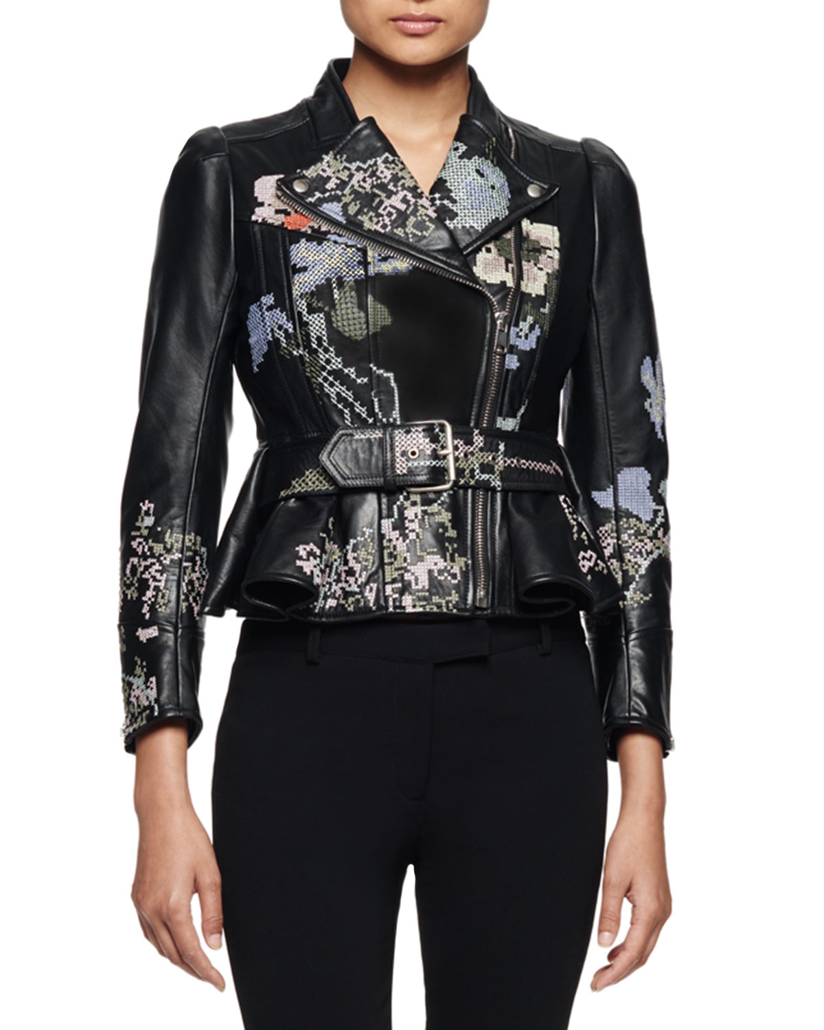 Alexander McQueen Embroidered Leather Moto Jacket, Black Multi ... 491eeb71df4