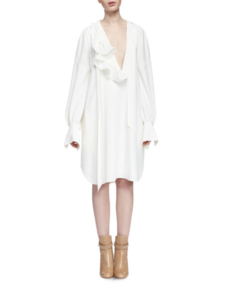 Chloe Long-Sleeve Asymmetric Shirtdress, Milk