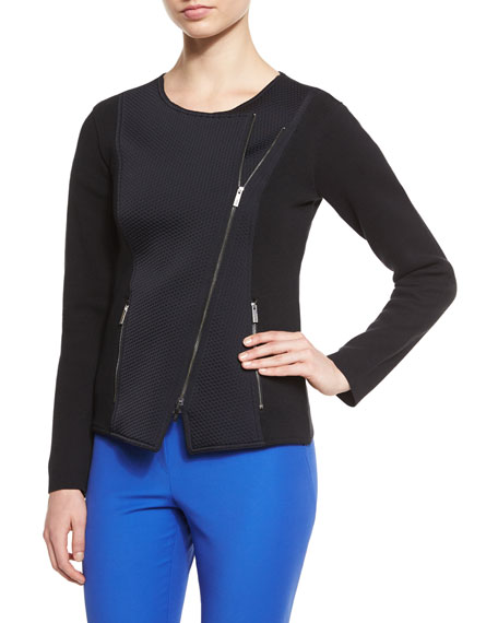 Armani Collezioni Asymmetric-Zip Long-Sleeve Jacket, Black