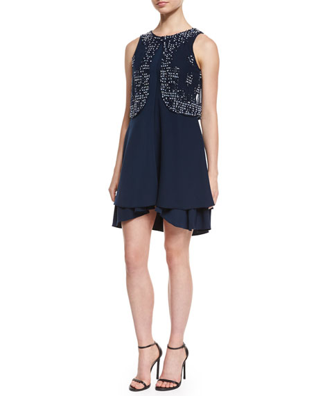 Armani Collezioni Sleeveless Embroidered Cocktail Dress, Blue