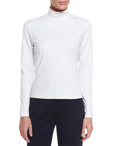 Fine Jersey Long-Sleeve Turtleneck, Bright White