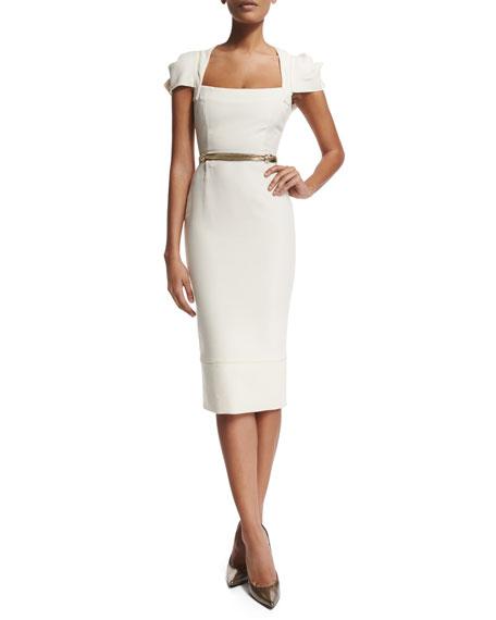 Roland Mouret Galaxy Square-Neck Sheath Dress, White