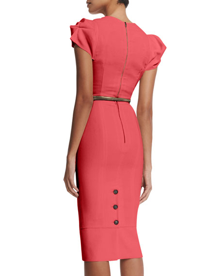 Galaxy Square-Neck Sheath Dress, Rose Pink