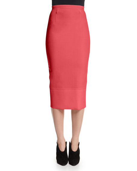 Roland Mouret Galaxy Fitted Pencil Skirt, Rose Pink