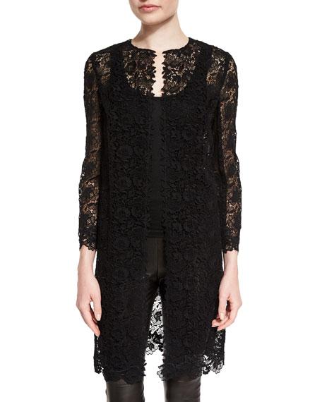 Ralph LaurenBracelet-Sleeve Guipure-Lace Coat, Black