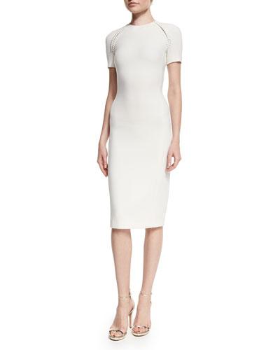 Wool-Crepe Short-Sleeve Sheath Dress, Cream