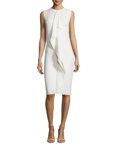 Sleeveless Ruffle-Front Sheath Dress, Cream