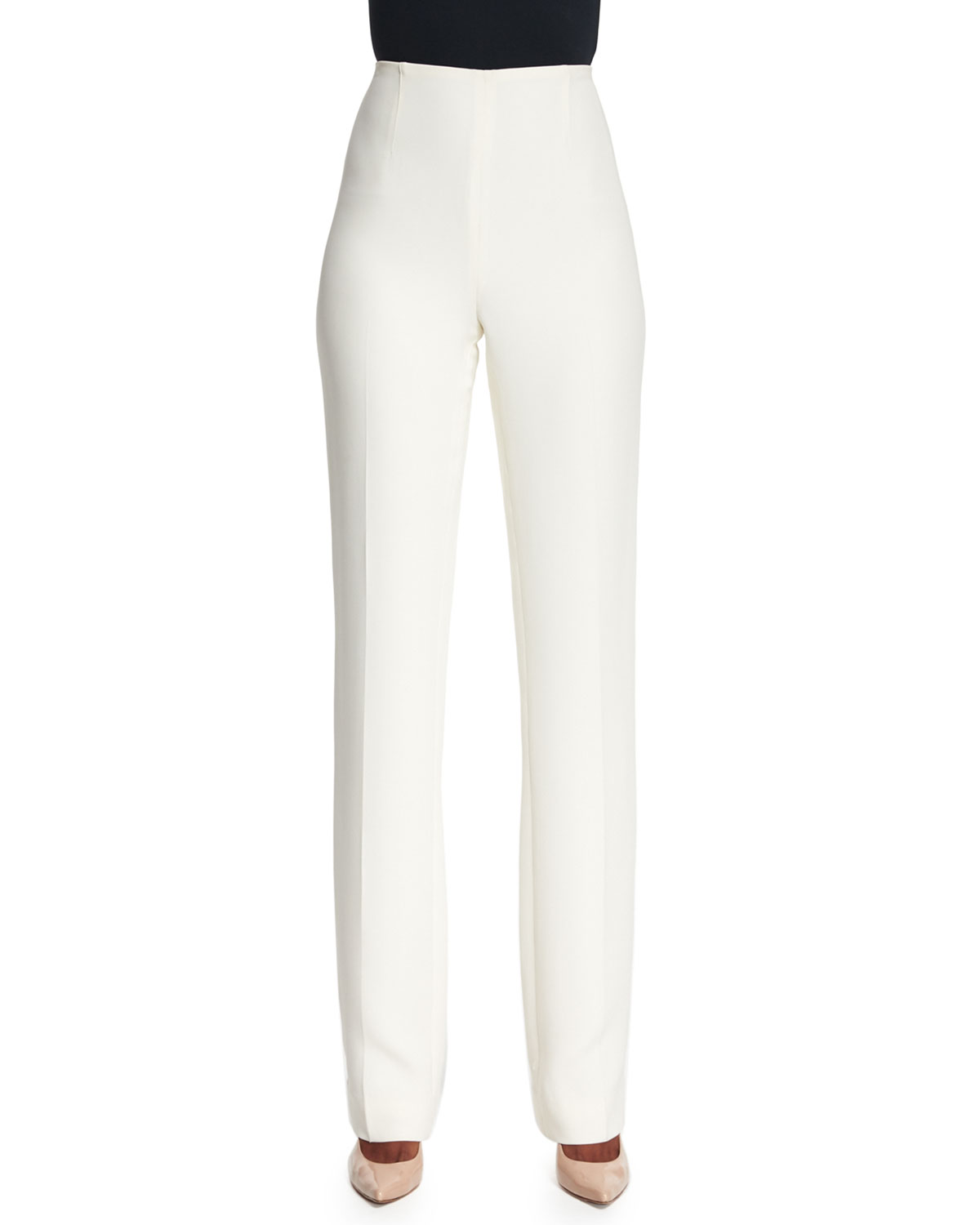 Ralph Lauren Collection Alandra Straight-Leg Pants, Cream