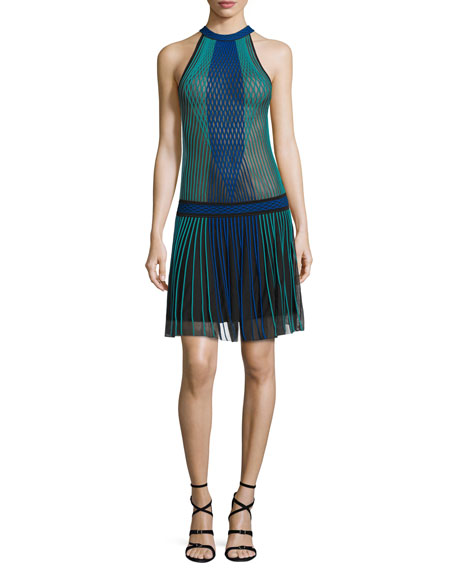 Roberto CavalliHalter-Neck Pleated-Skirt Dress, Black/Blue/Green