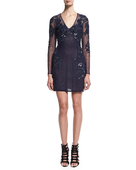 Roberto Cavalli Long-Sleeve Embellished Cocktail Dress, Indigo