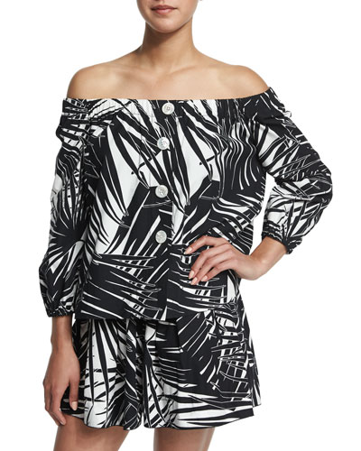 Marc Jacobs Off-The-Shoulder Palm-Print Blouse, Black