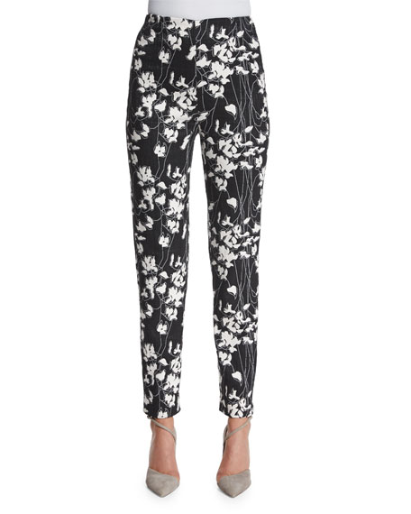 Donna Karan Floral-Print Slim-Fit Ankle Pants, Black/Ivory