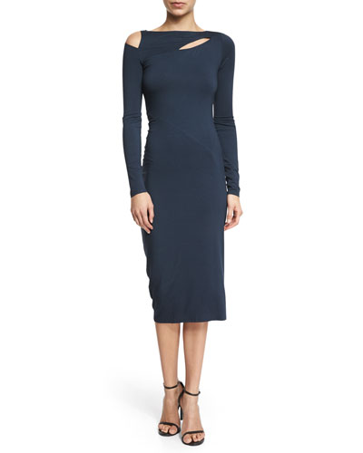 Long-Sleeve Cold-Shoulder Sheath Dress, Deep Indigo