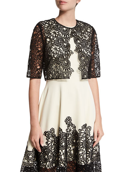 Lela Rose Elbow-Sleeve Lace Bolero, Black