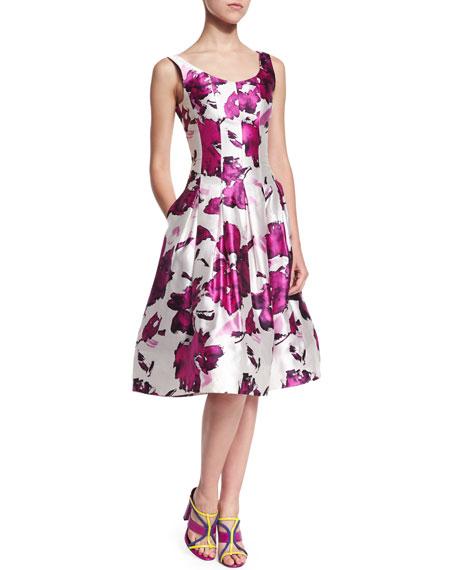 Oscar de la Renta Watercolor Floral-Print Mikado Cocktail Dress, Magenta