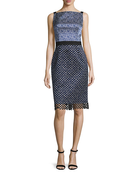 Oscar de la Renta Sleeveless Square-Neck Sheath Dress, Black/Marine