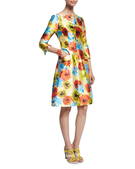 Oscar de la RentaImpasto Floral-Print A-Line Dress, Marigold
