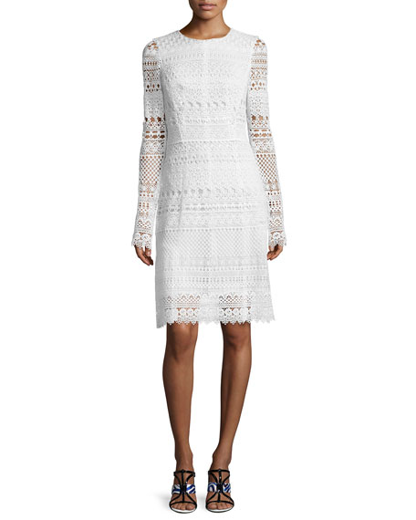 Oscar de la Renta Long-Sleeve Banded-Lace Sheath Dress,