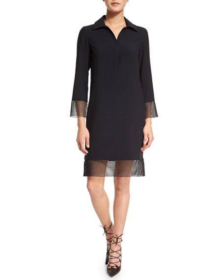 Akris punto 3/4-Sleeve Sheath Dress W/Mesh Trim, Black