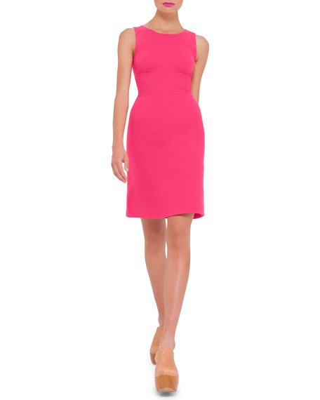 Akris Sleeveless Round-Neck Wool Sheath Dress, Rose
