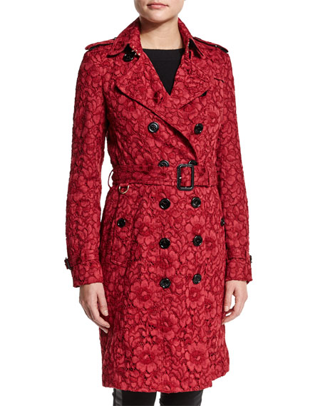 Burberry London Floral-Lace Double-Breasted Trench Coat, Parade