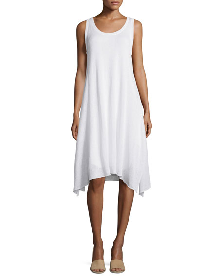 Sleeveless Round-Neck Paillette Dress, White