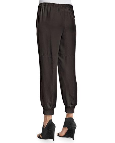 Elastic-Waist Jogging Pants, Black
