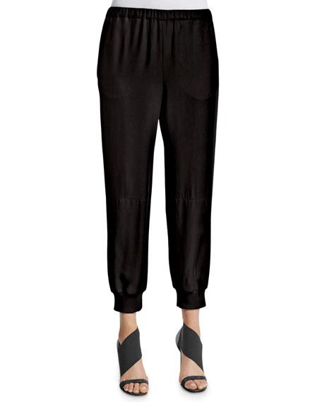 Agnona Zip-Front Leather Peplum Vest & Elastic-Waist Jogging