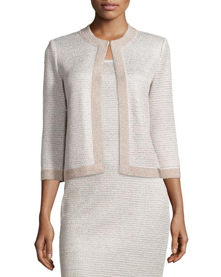 St. John Collection Allure Knit Jewel-Neck 3/4-Sleeve Jacket,