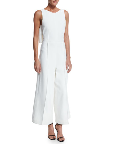 Sleeveless Cape-Back Crepe Jumpsuit, White