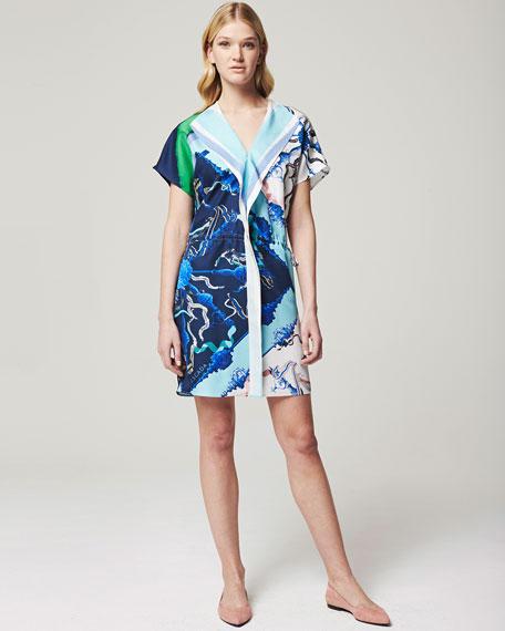 Short-Sleeve Printed Mini Dress, Blue/White