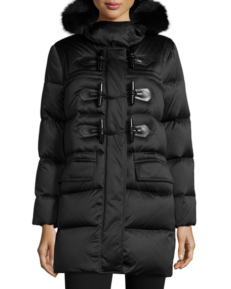Burberry Brit Altberry Duffle Puffer Coat with Fur Hood