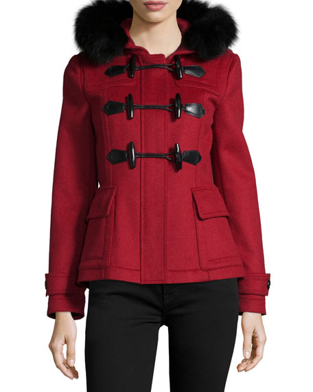Burberry Brit Blackwell Short Wool Coat with Removable Fur-Trim
