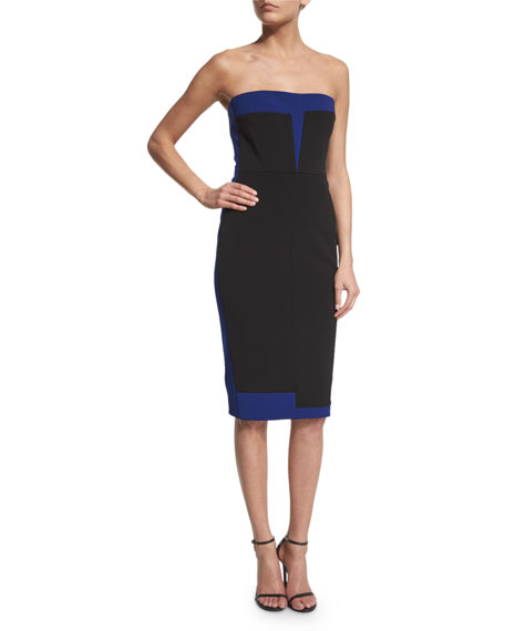 Strapless Bustier Two-Tone Dress, Black/Deep Blue