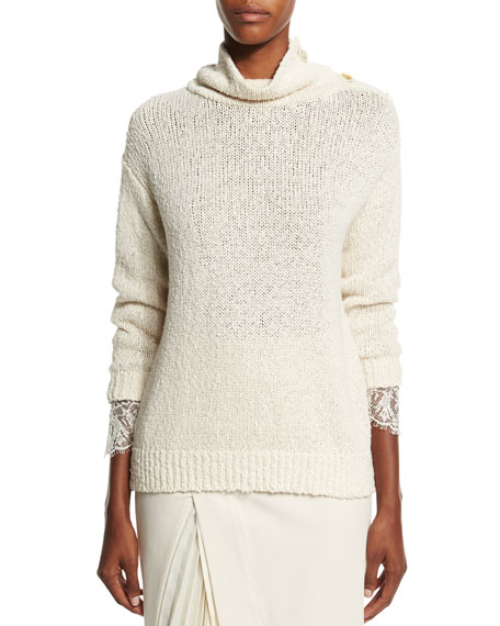 Brunello Cucinelli Turtleneck Lace-Trim Sweater, Butter