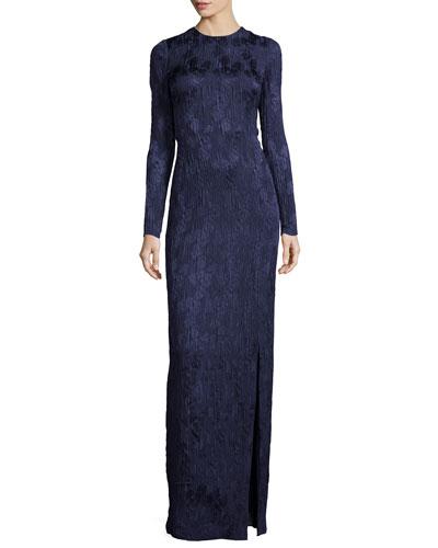 Long-Sleeve Floral Silk Cloque Gown, Dusk