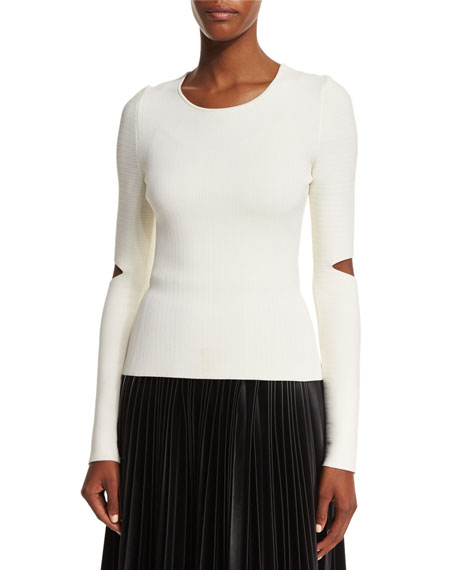 Alexander Wang Long Split-Sleeve Pullover Top, Silica