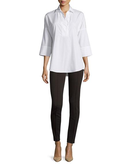 Akris punto Kimono-Sleeve Split-Neck Blouse, White