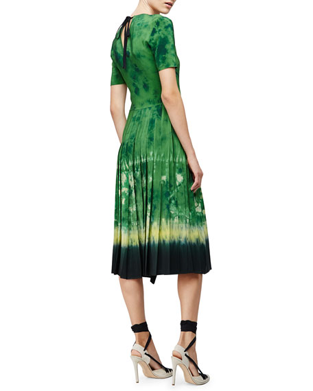 Tie-Dye Asymmetric Button-Front Dress, Ceramic Green