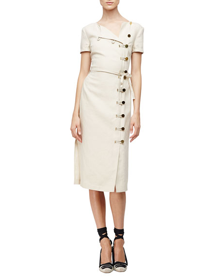 Altuzarra Short-Sleeve Button-Front Sheath Dress, Straw
