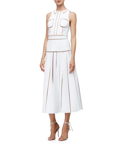 Sleeveless Shirtdress W/Cutouts, White