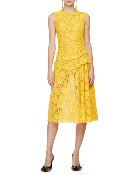 Oscar de la Renta Sleeveless Gathered-Waist Lace Dress,