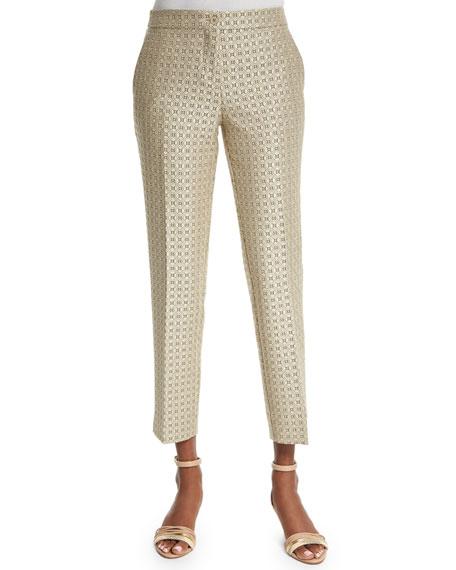 Etro Medallion-Print Skinny Capri Pants, Beige
